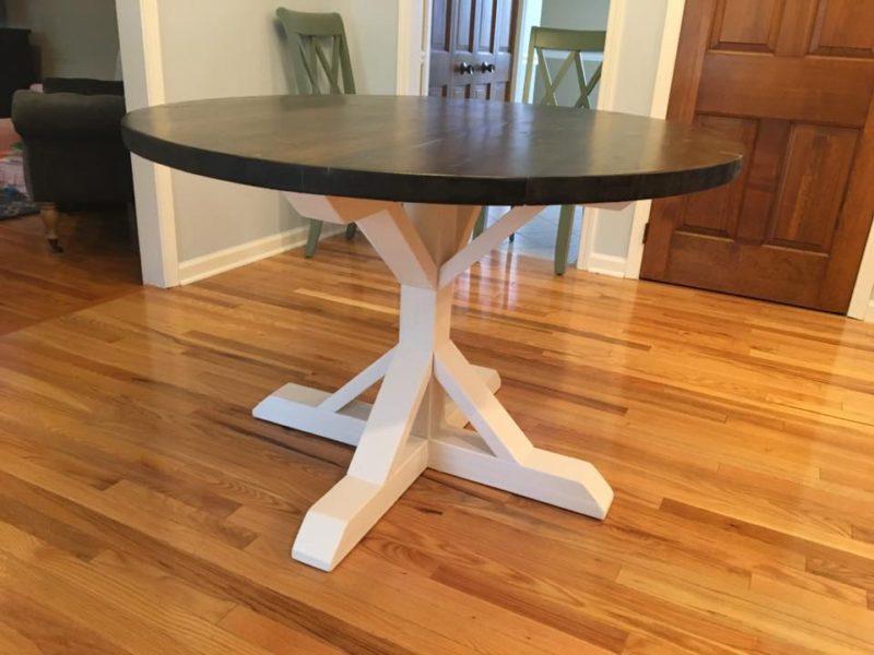 Round Farm Table with Trestle Base